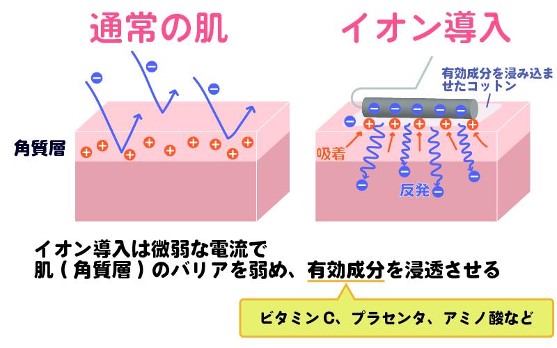 イオン導入で角質層の肌バリアを緩め、有効成分を浸透させる仕組み